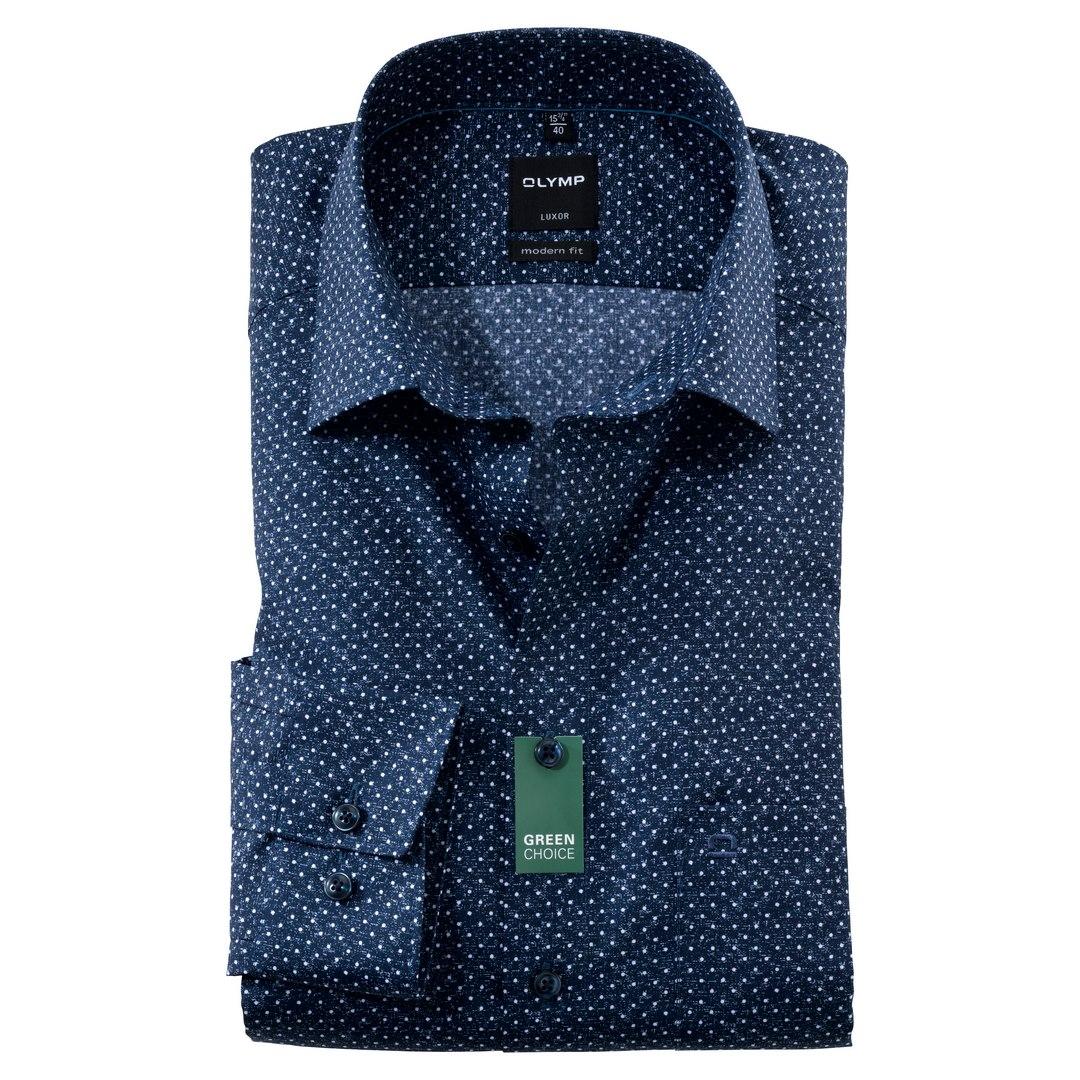 Olymp Luxor Hemd Extra langer Arm Businesshemd Modern fit Green Choice 128889 18 marine