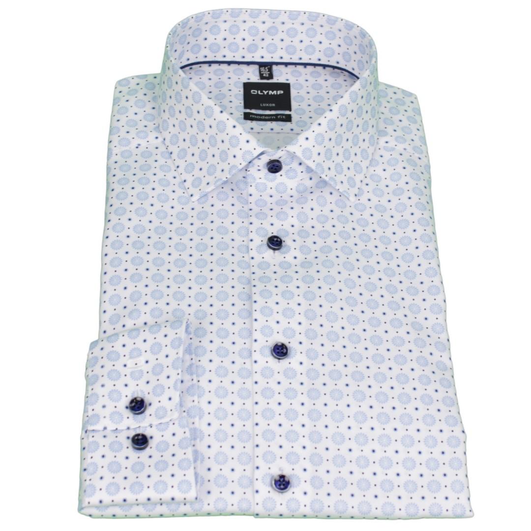 Olymp Herren Luxor Modern Fit Hemd weiß blau Minimal Muster 1237 34 11