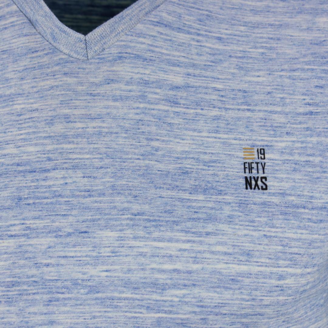 No Excess Herren T-Shirt blau meliert 95350354 135 royal