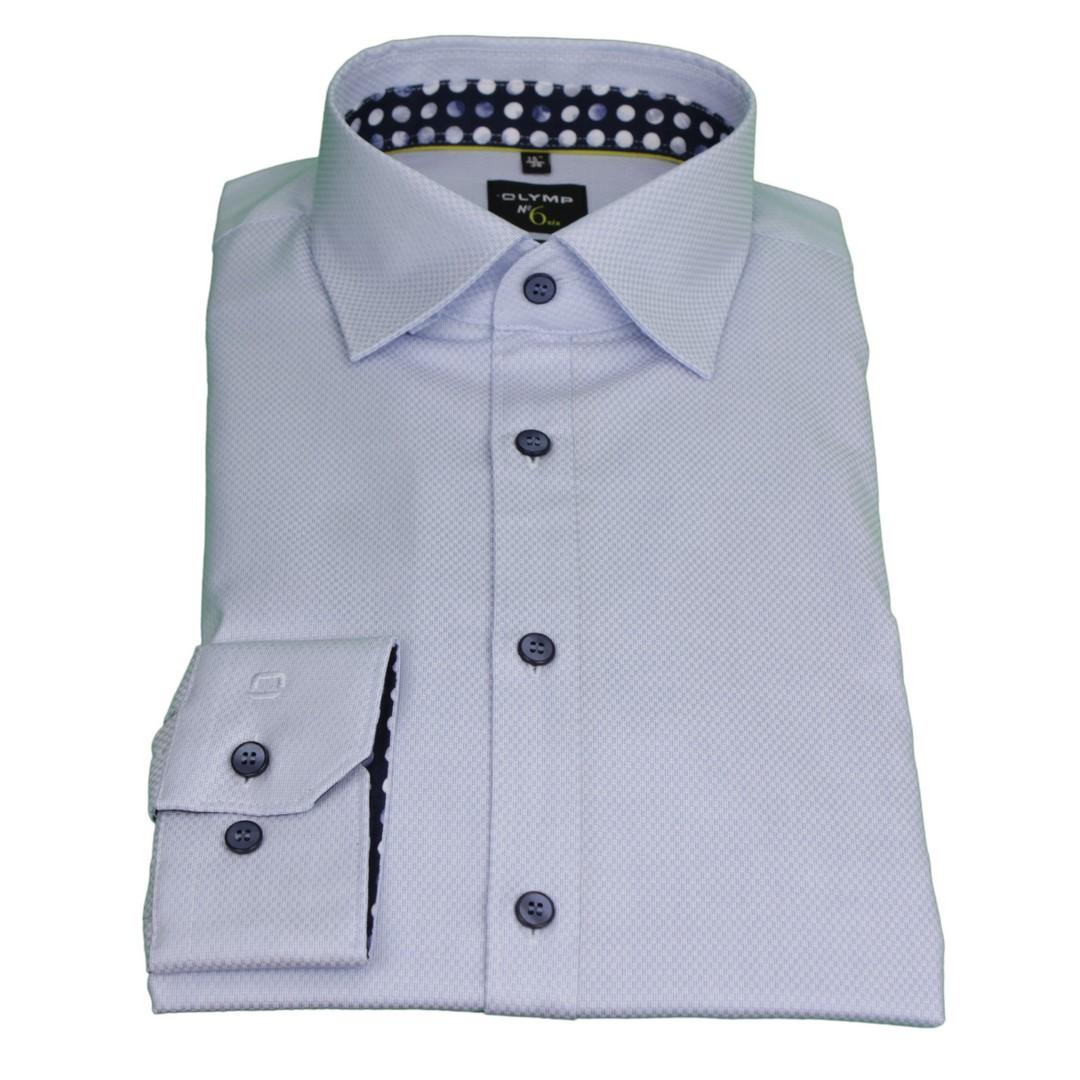 Olymp Herren Super Slim Hemd No. 6 blau unifarben 2514 54 11