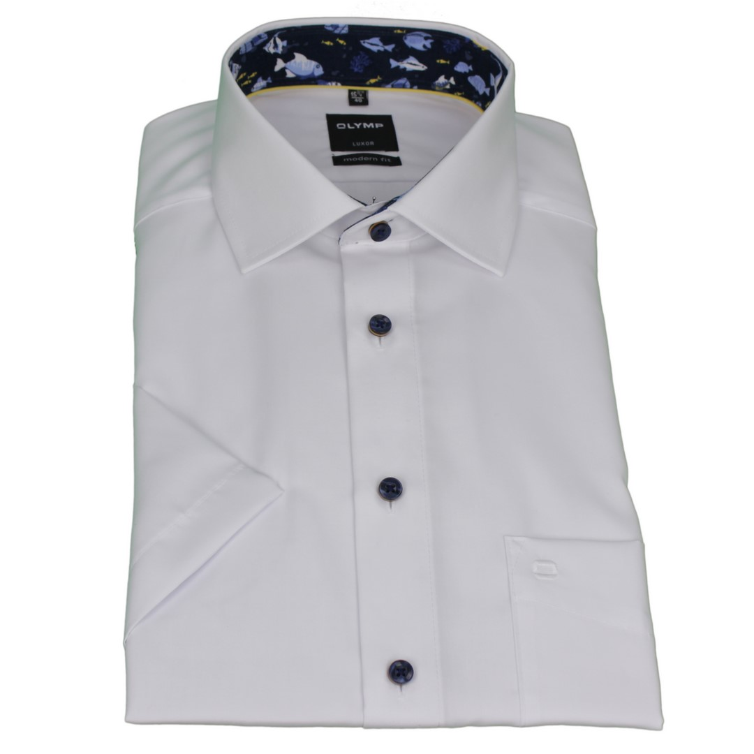 Olymp Modern Fit Kurzarm Hemd weiß unifarben 5882 01 00
