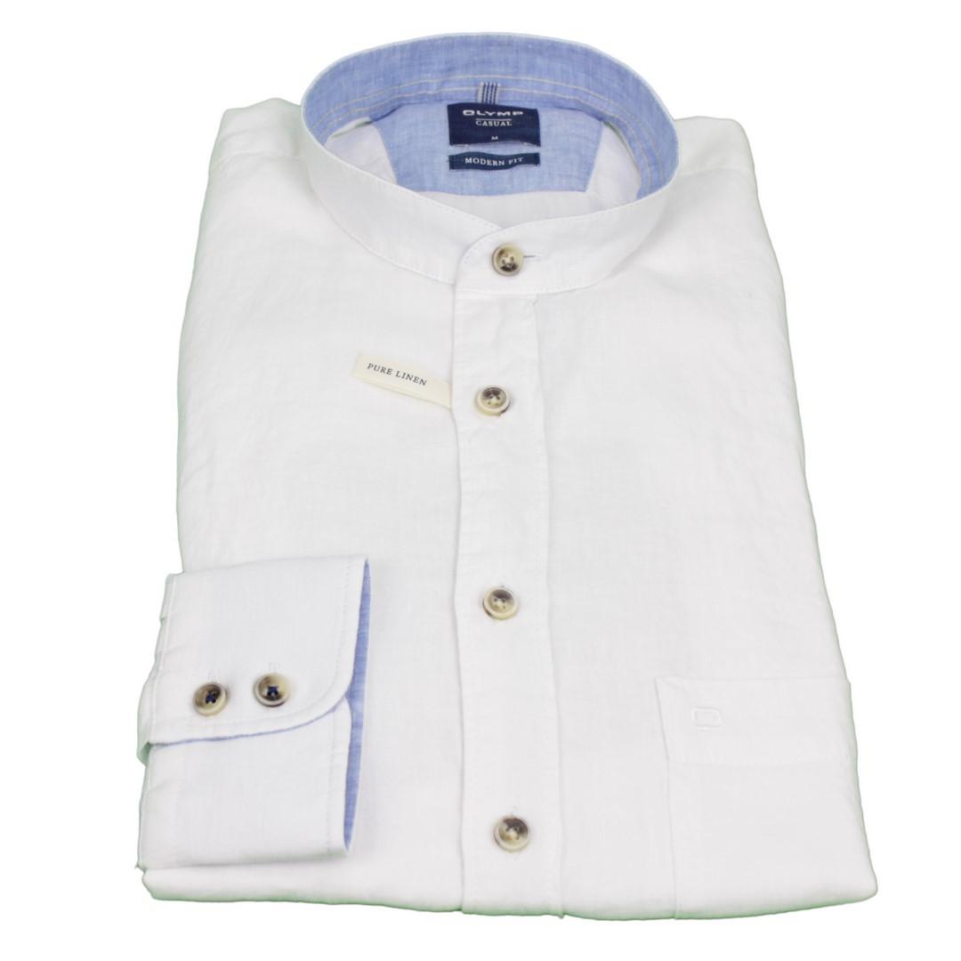 Olymp Casual Freizeit Leinen Hemd weiß unifarben 4062 34 00