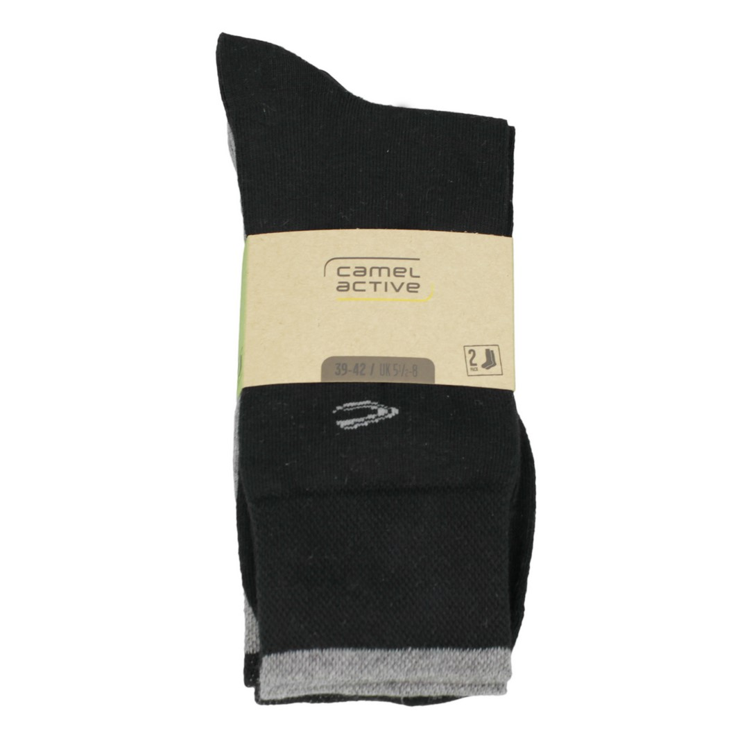 Camel active Socken Doppelpack in schwarz grau 6438 61A