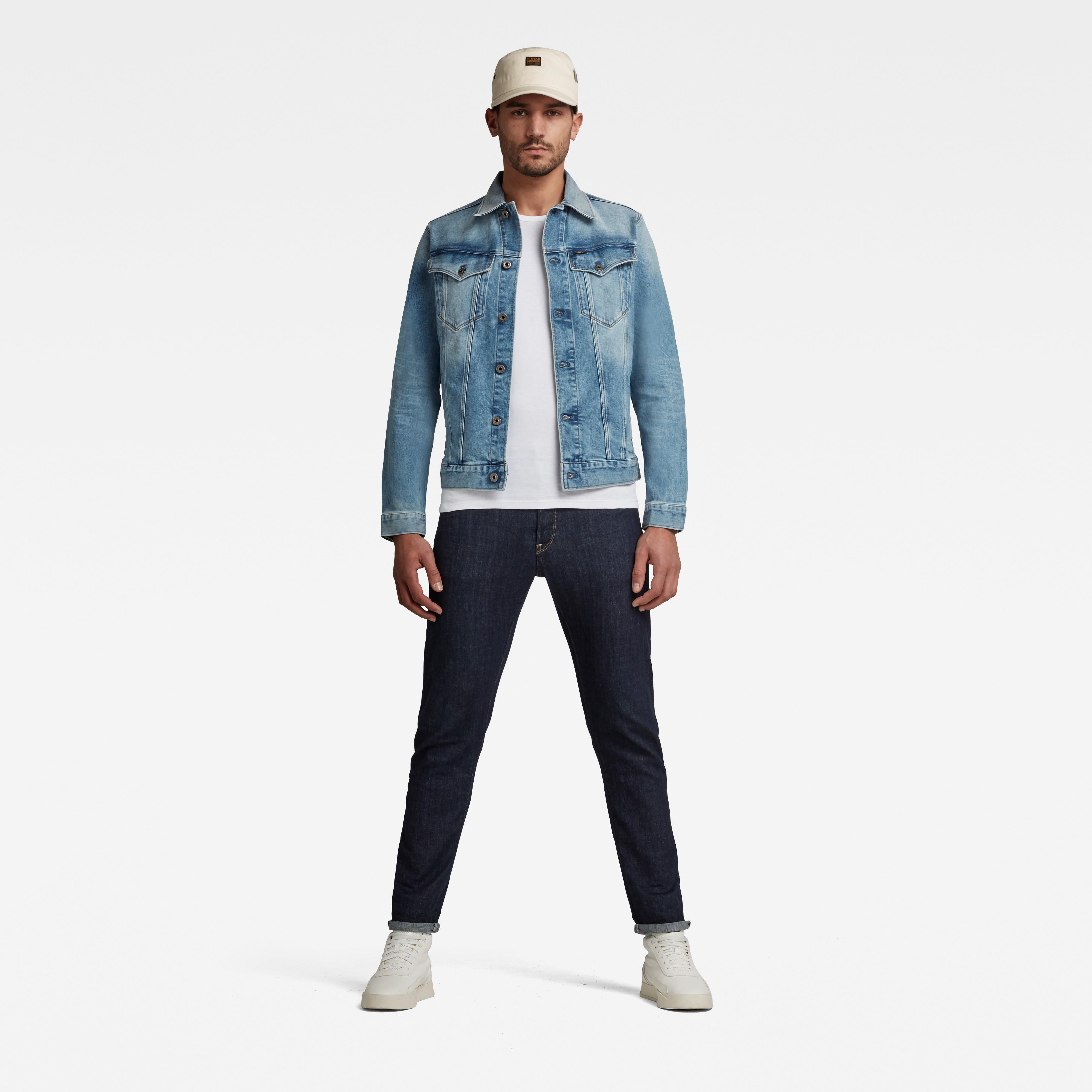 G-Star Raw Herren Jeans Jacke Jeansjacke 3301 SLIM blau unifarben D11150 C052 C293